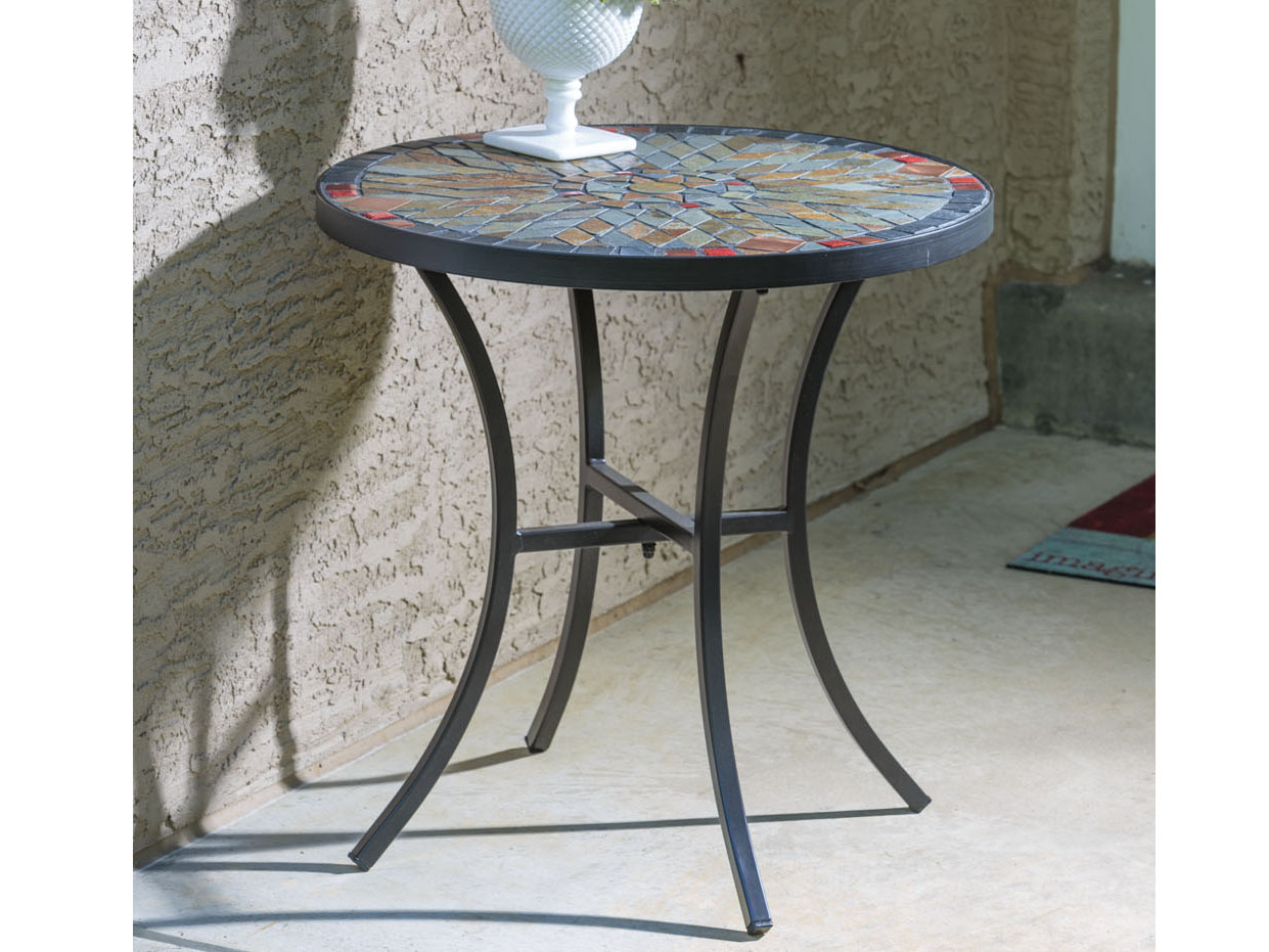alfresco home sagrada wrought iron round ceramic mosaic outdoor side table wide small kitchen and chairs set large floor mirror turquoise end rattan drinks meyda tiffany lamp