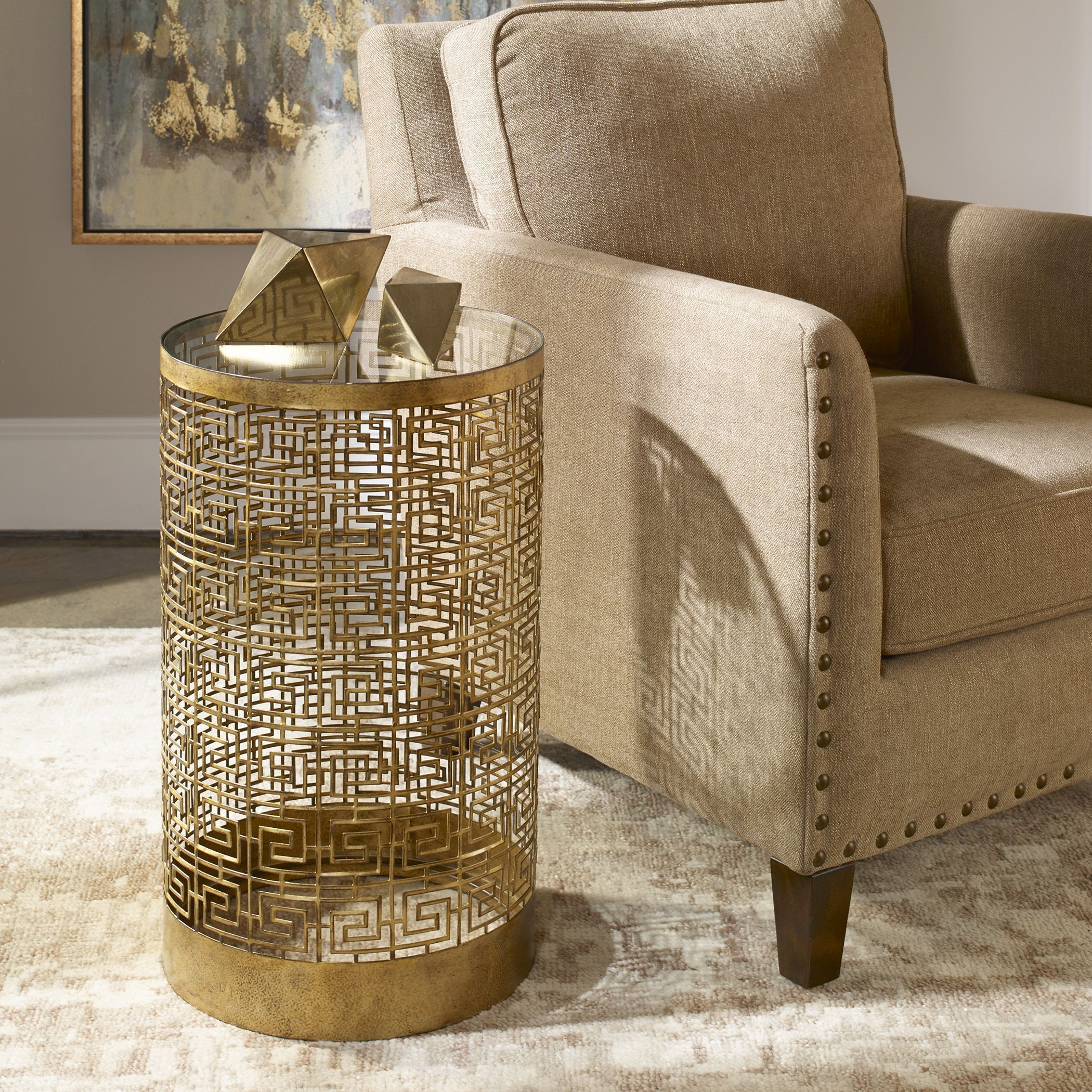 algernon transitional antiqued gold round accent table uttermost very slim console pub height kitchen broyhill side with usb modern mirrored coffee ikea desk living room ideas