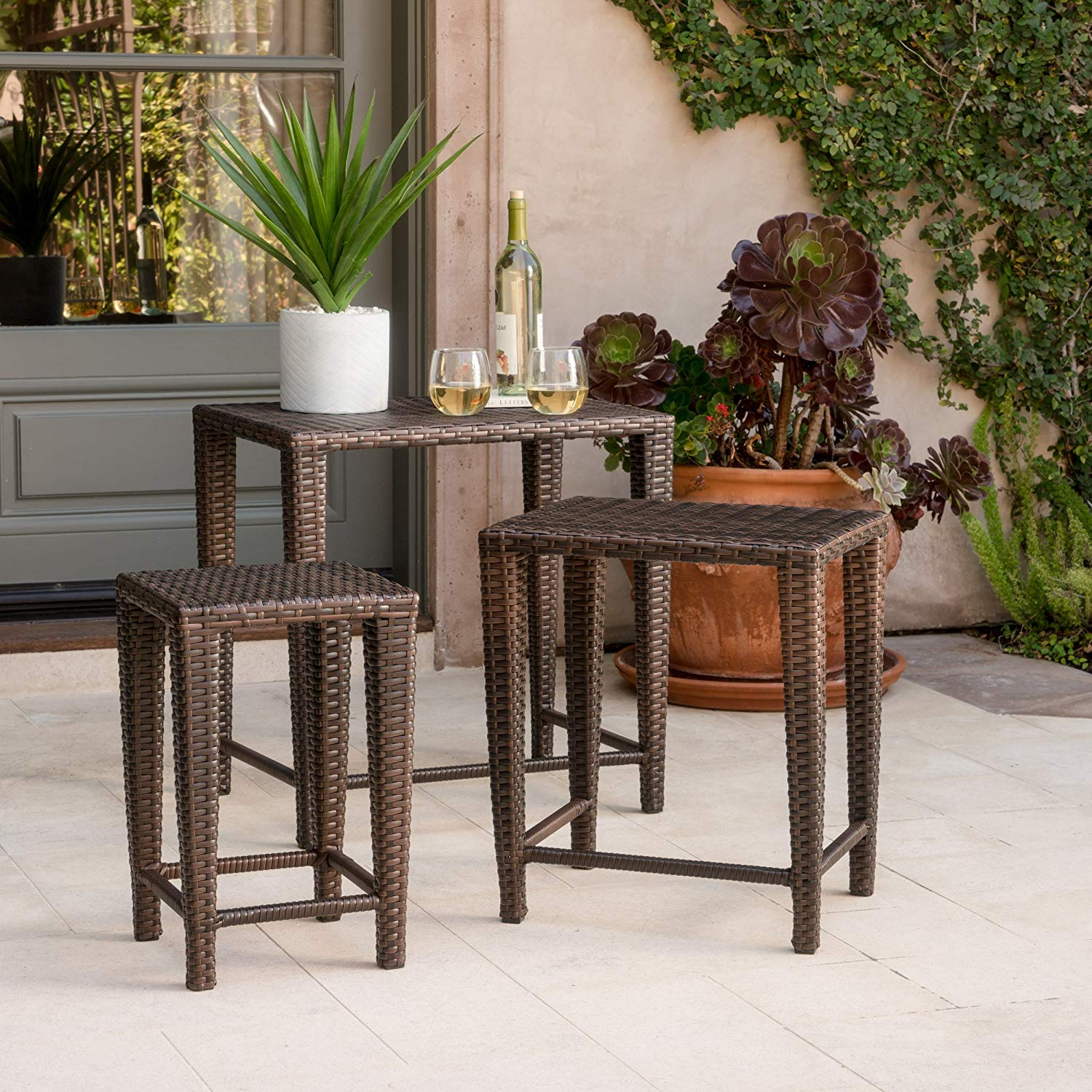 all patio furniture piece brown nested outdoor wicker side table set garden pier dining room glass lamps for bedroom stained standing lamp lucite coffee base very thin console