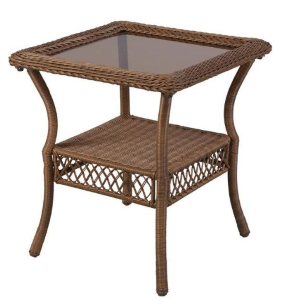 all weather wicker patio garden side table glass top square metal accent brown hamptonbay pottery barn beds small tub chair inch round tablecloth blue best trestle tables door