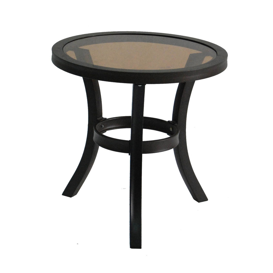 allen roth belsay black steel round patio end accent table furniture foam indoor barn doors red tables decor chair design outdoor dining mattress plus rattan garden homebase rugs