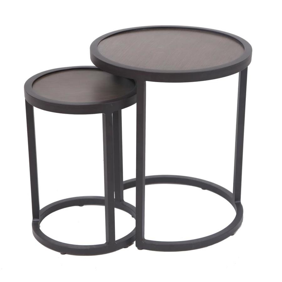 allen roth round end table aluminum accent monarch hall console dark taupe transparent dining cover target closet organizer white kitchen glass and steel side solid pine threshold
