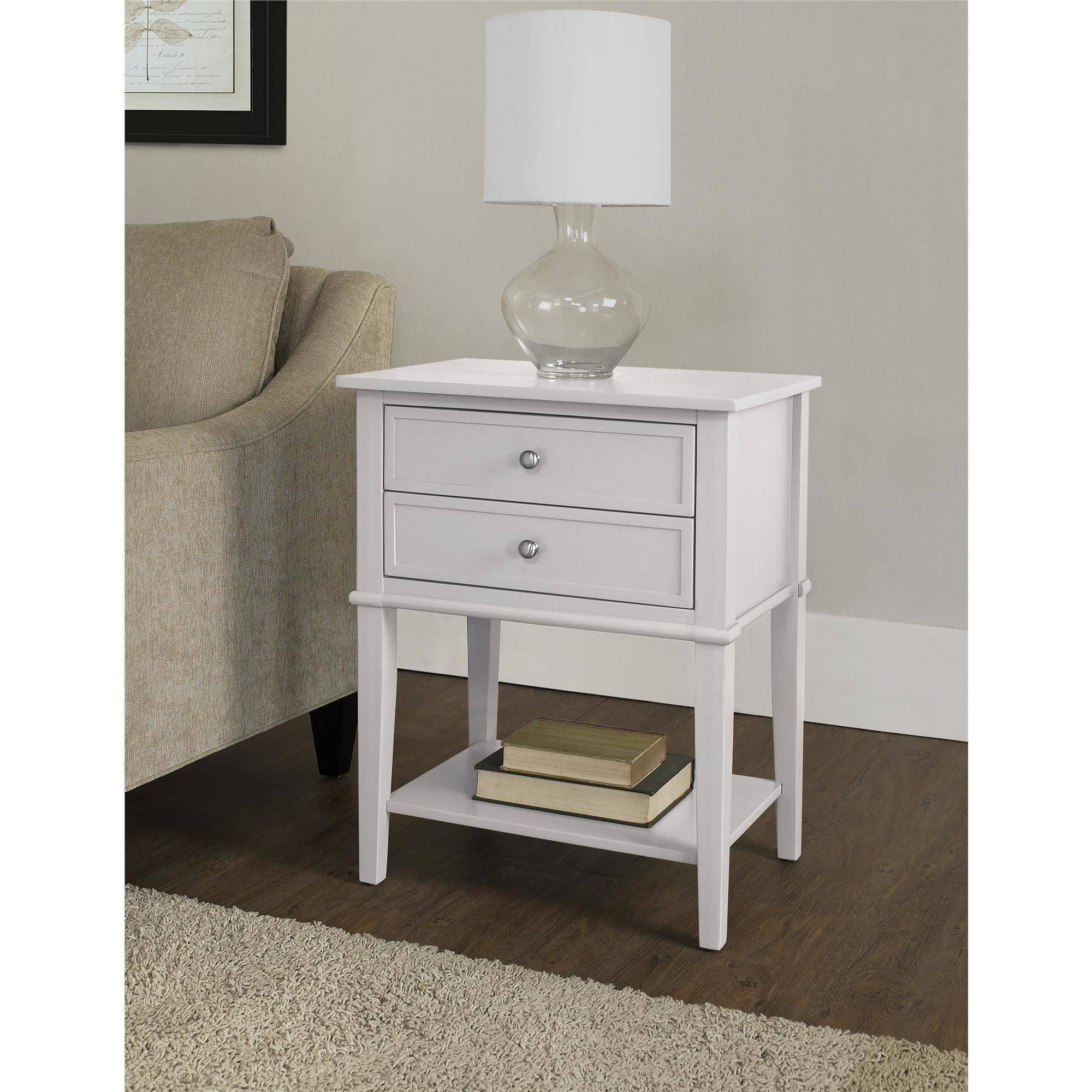altra franklin accent table with drawers white end shelves multiple colors ture side casters sears sectionals round covers trundle sofa dining room wine rack inch tablecloth fits