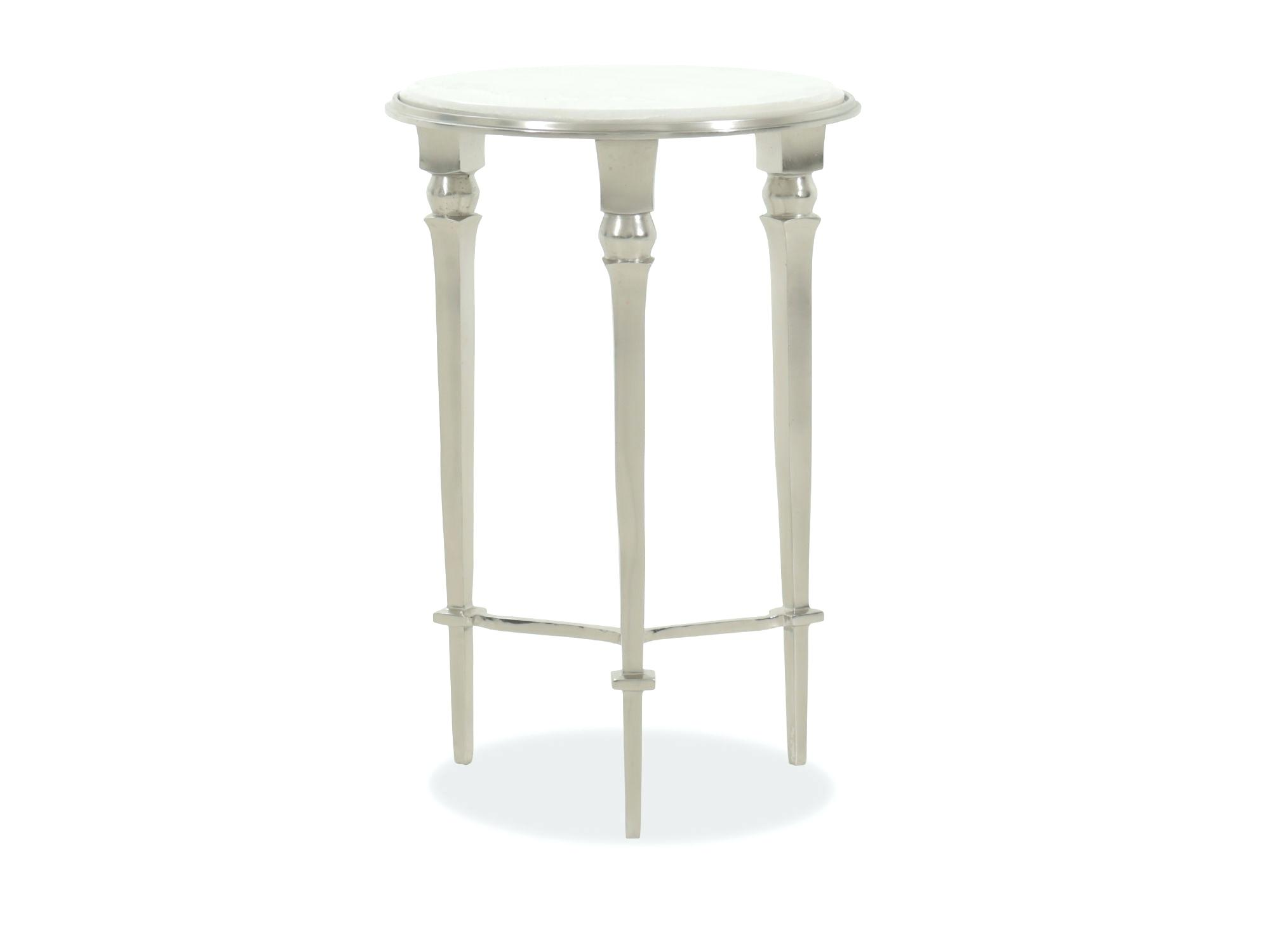 aluminum accent table round three legged silver pottery barn west elm mirror wooden frog instrument ships lantern lamp big chair tablecloths and placemats patio lounge furniture