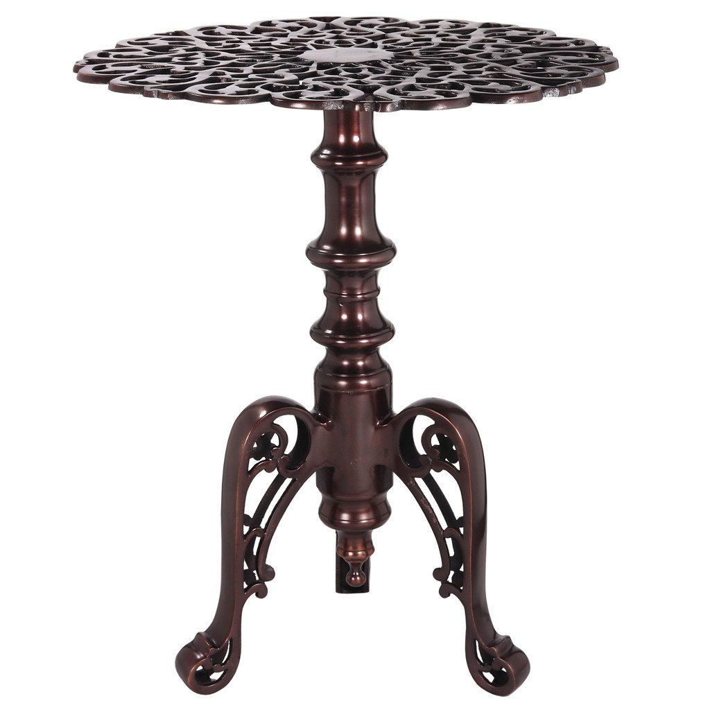 aluminum fretwork round accent table antique bronze wrightwood mid century wooden plant stand small oak side black kitchen chairs asian lamps outdoor with umbrella hole bathroom