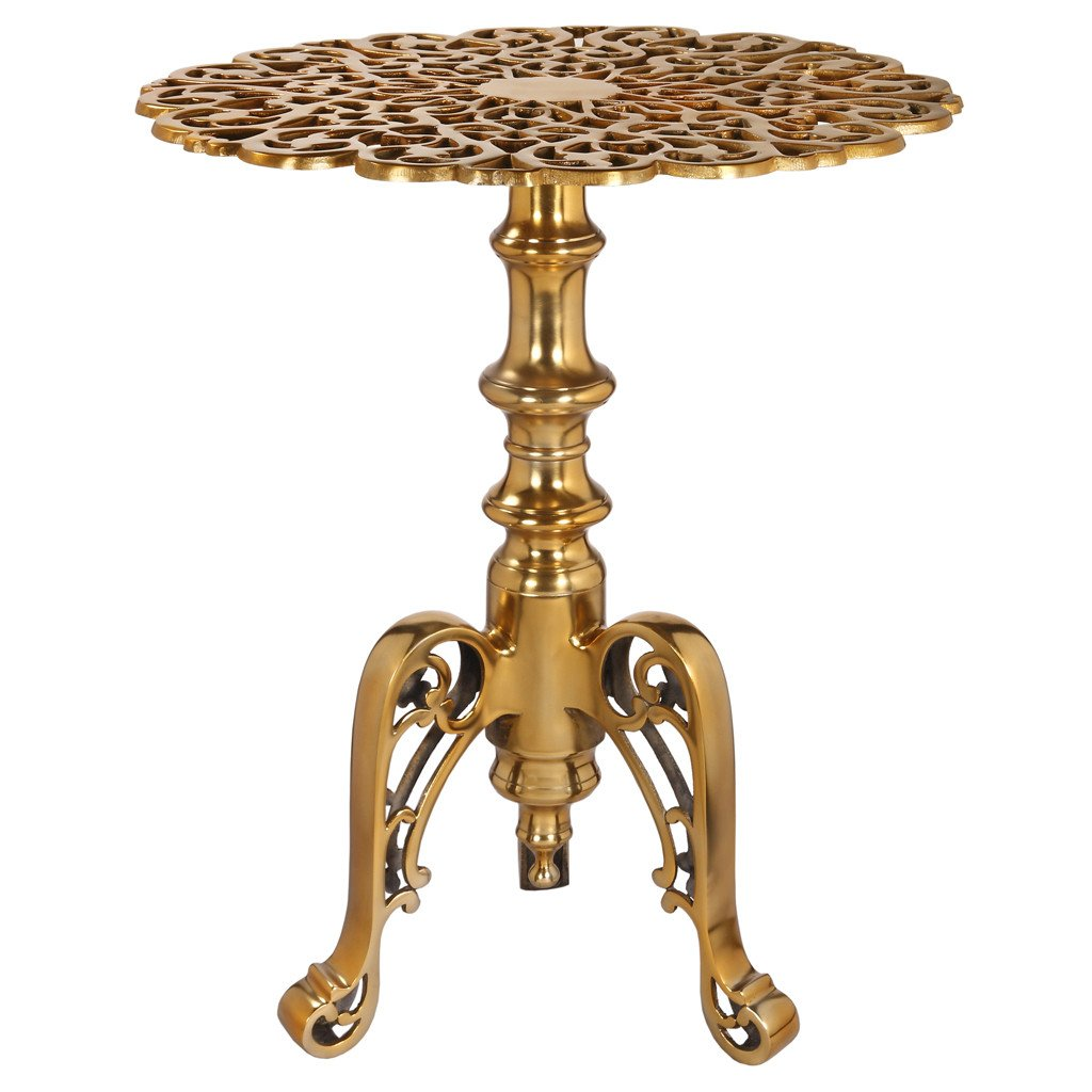 aluminum fretwork round accent table antique gold wrightwood bronze unusual furniture patio glass drum ikea bedroom storage ideas end marble throne for tall drummers solid wood