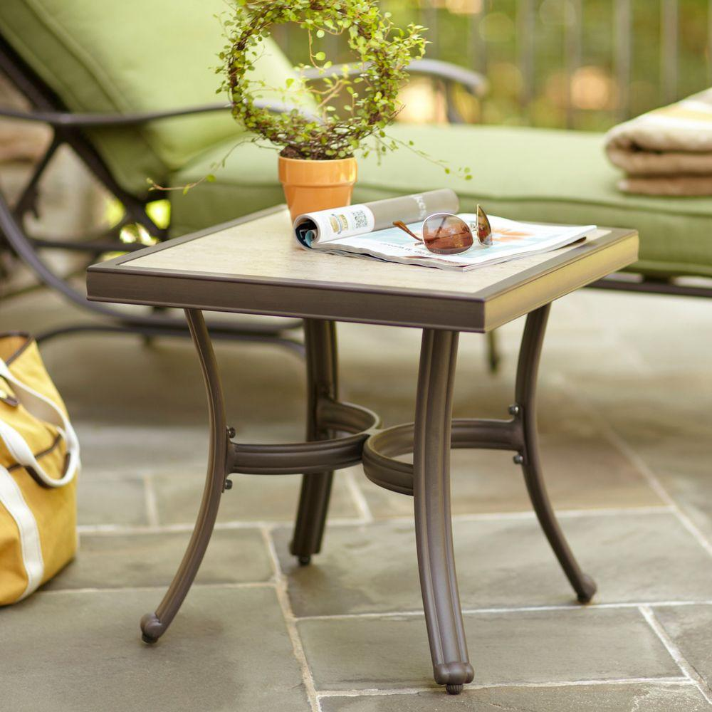 aluminum outdoor side tables patio the hampton bay small accent under pembrey table end design plans coffee decor sunbrella umbrella storage ideas geometric lamp glass wood narrow