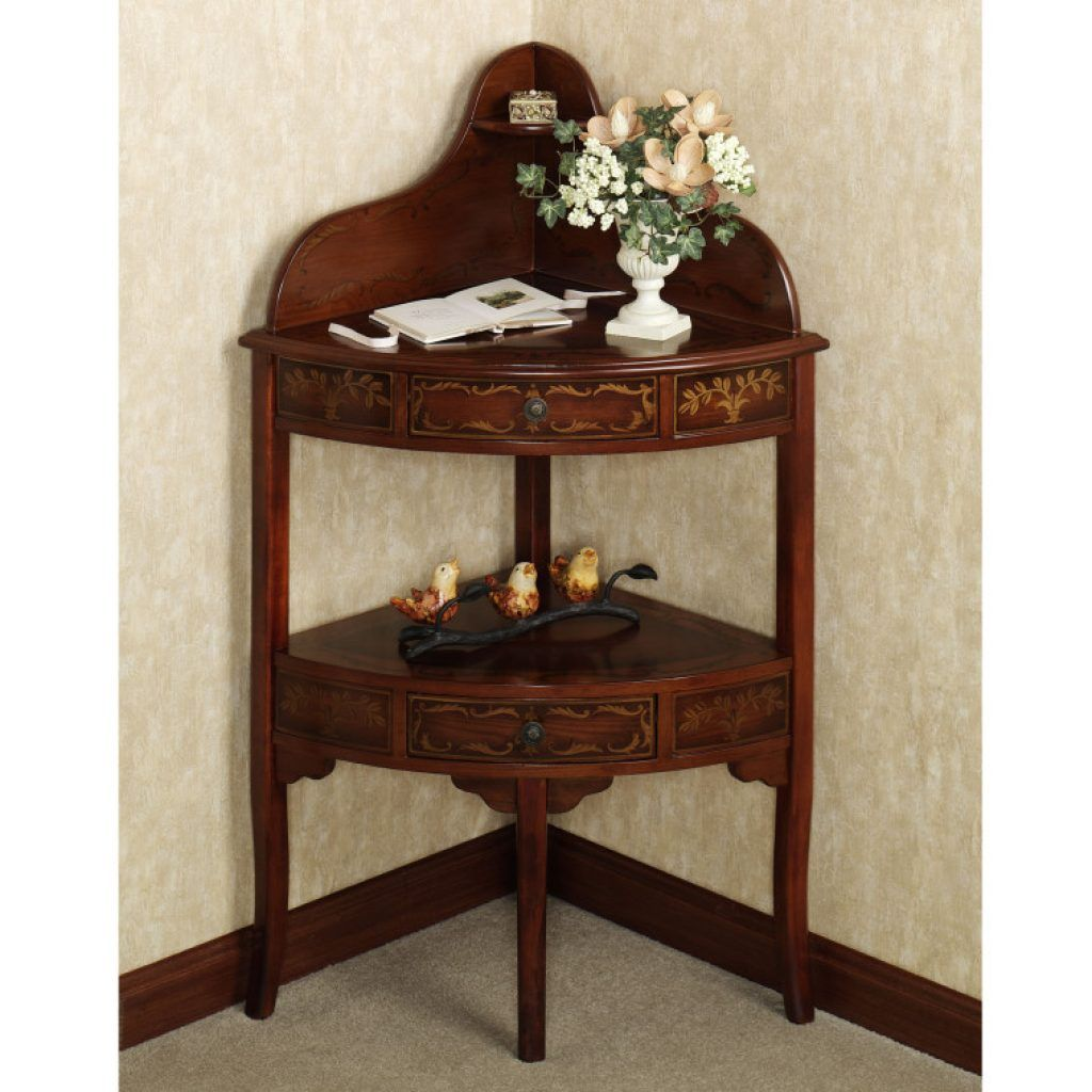 amazing brown varnished oak corner accent console table with drawers and shelves well also furniture ideas tall chairs decoration white bedside floor ikea blue living room mission