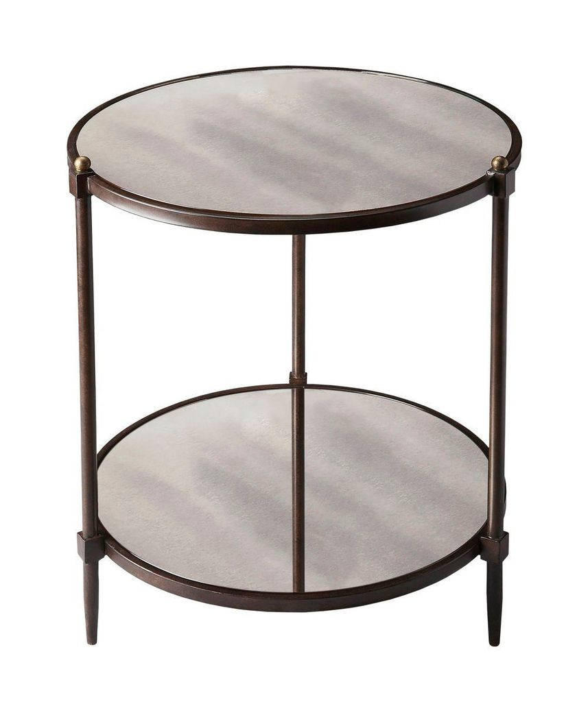 amazing butler furniture but peninsula transitional side tables round table gray tubular steel and mirrored glass accent contemporary the outdoor garden patio changing dimensions