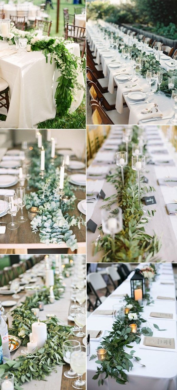 amazing greenery wedding details for your big day accent focus table runner fresh runners inspiration reception custom trestle target curtain rods corner console patio seating