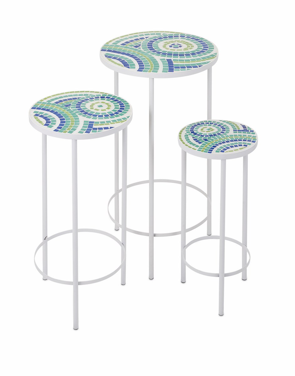 amazing mosaic accent table with imax worldwide laguna inch round set outdoor storage bench cushion ikea reproduction designer furniture winsome instructions white wicker coffee
