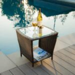 amazing outdoor wicker side table for patio furniture elegant brown round glass top dale tiffany dragonfly lily lamp room essentials desk luxury living night home office nic and 150x150