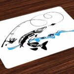 ambesonne fishing place mats set big pike fish vtpxbl table accent placemat catching wobblers reel trap river raptorial predator hunting print washable fabric placemats for mirror 150x150