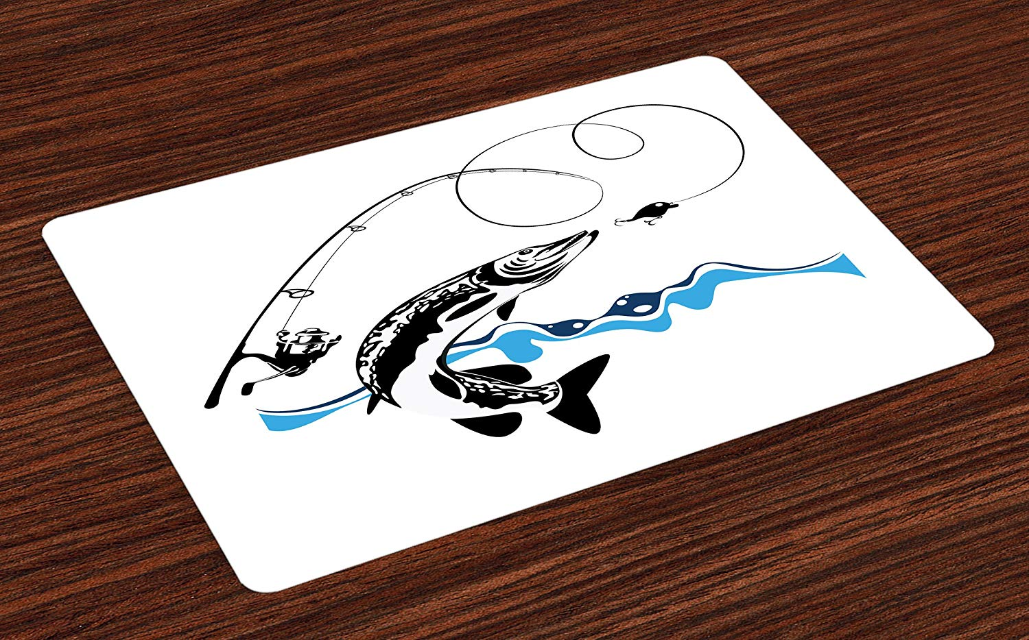 ambesonne fishing place mats set big pike fish vtpxbl table accent placemat catching wobblers reel trap river raptorial predator hunting print washable fabric placemats for mirror