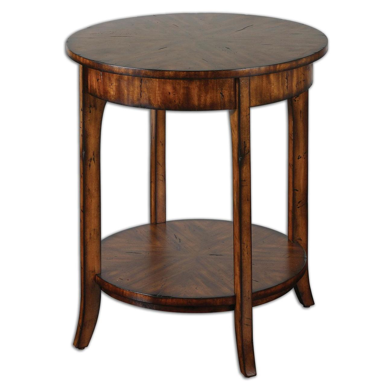 ambrose distressed barn brown primavera veneer round accent side table meyda tiffany shades light shower head square metal gray and white coffee sheesham unfinished console