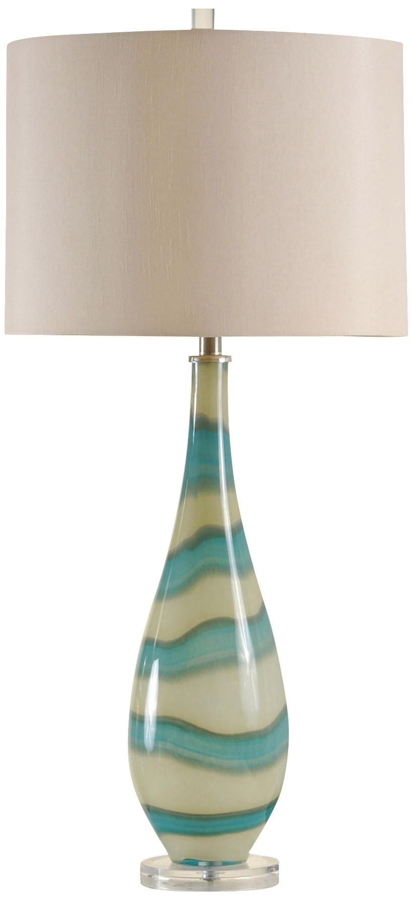 amelie turquoise and sand glass contemporary table lamp home accent lamps portland kitchen dining set small white night inch round tablecloth gloss console goods desk entryway