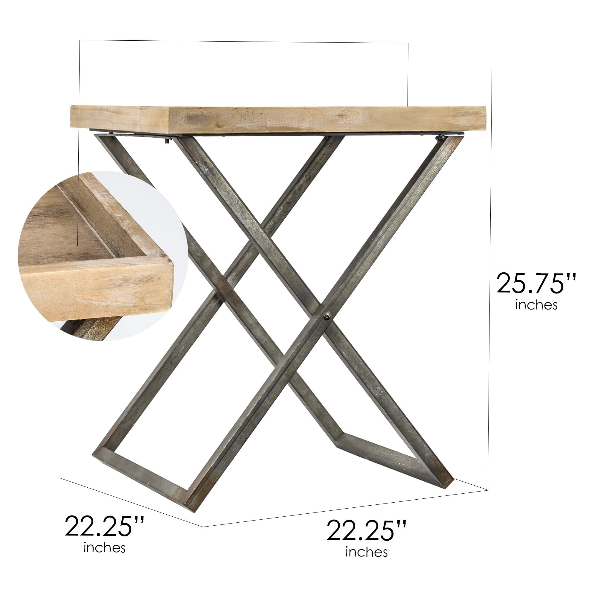 american art decor wood and metal folding card end side accent table free shipping today wooden dining chairs tall bar set white round with drawer target entry plastic outdoor