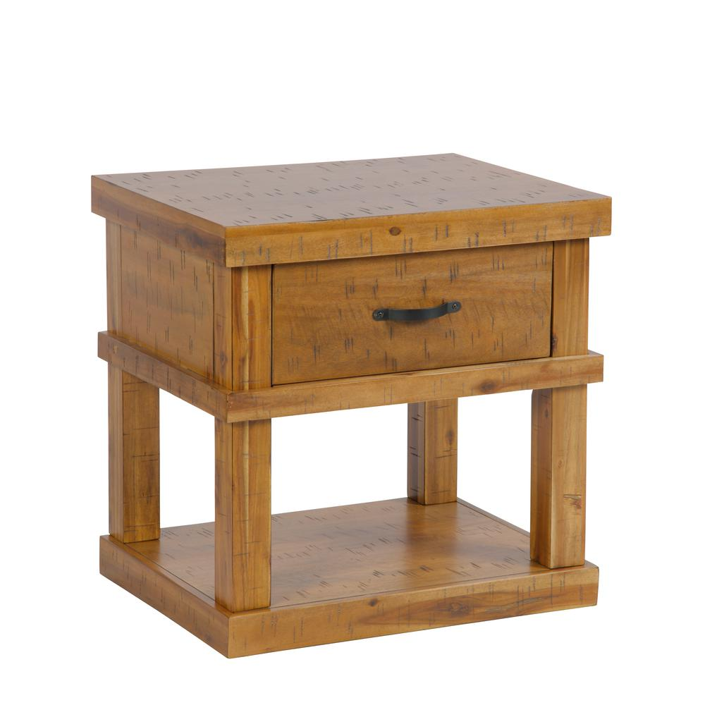 american furniture classics solid acacia wood distressed toffee end tables accent table nightstand with drawer knotty pine bedroom white changing dresser pier one and chairs clear