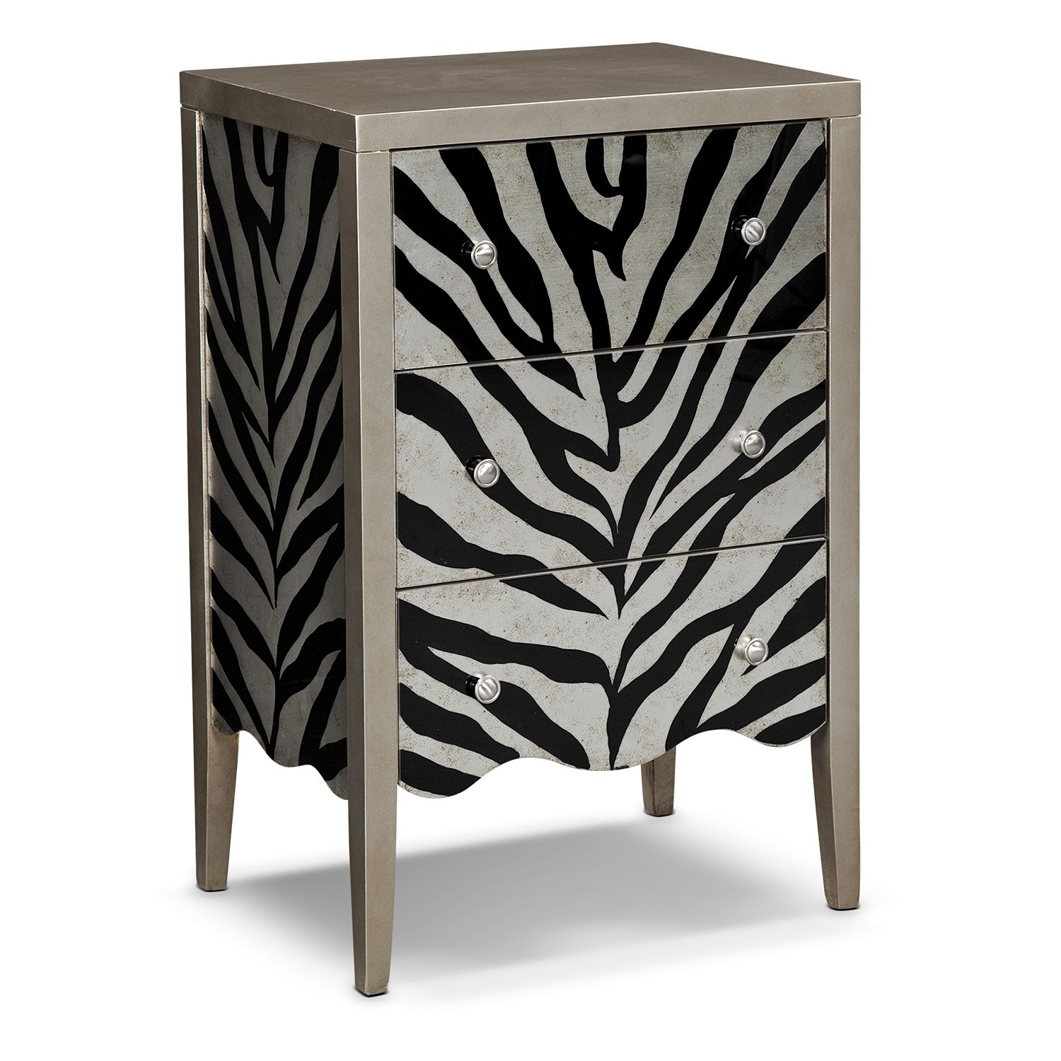 american signature furniture zebra accent pieces chest print end table open top coffee play glass lift kohl official website tripod side liquor cabinet ikea cocktail farmhouse