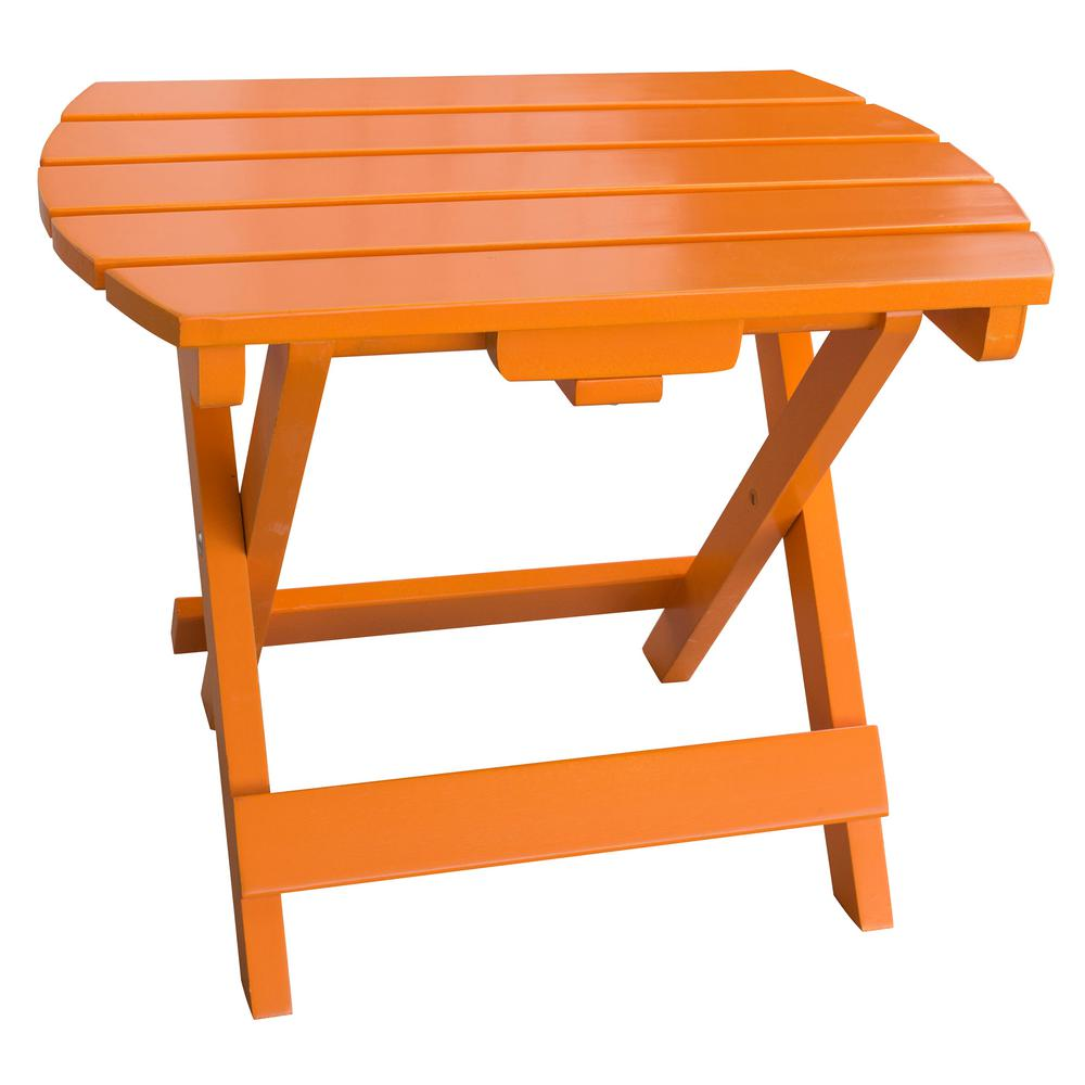 amerihome tangerine orange wood outdoor side table with painted tables red living room decor for small spaces ikea dining set lounge chairs bunnings hairpin round glass nest