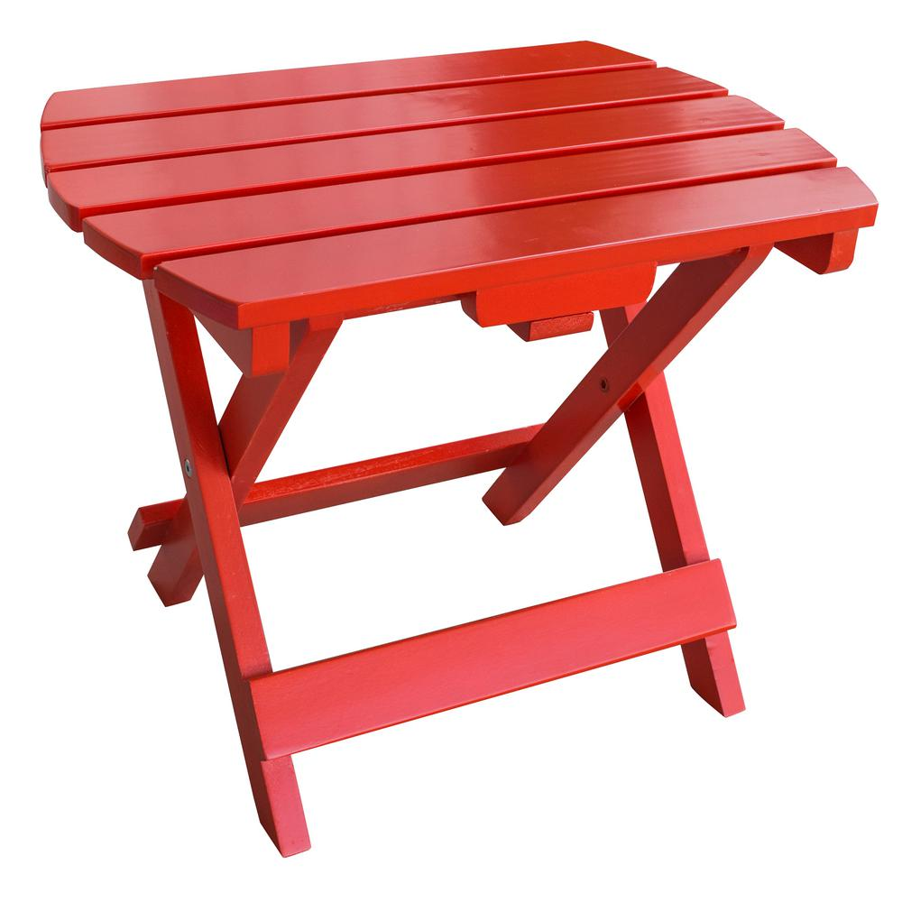 amerihome tomato red wood outdoor side table with painted tables accent small cordless lamps large round dining foldable coffee diy plastic chest for foyer battery powered lamp