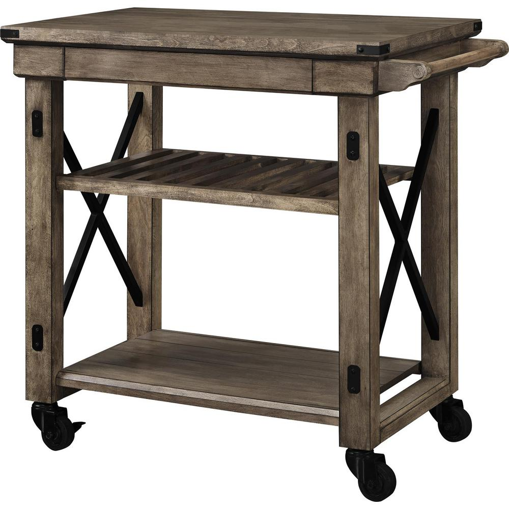 ameriwood forest grove rustic gray serving cart with slatted shelf finish bar carts better homes and gardens accent table end woodworking plans small balcony umbrella navy blue