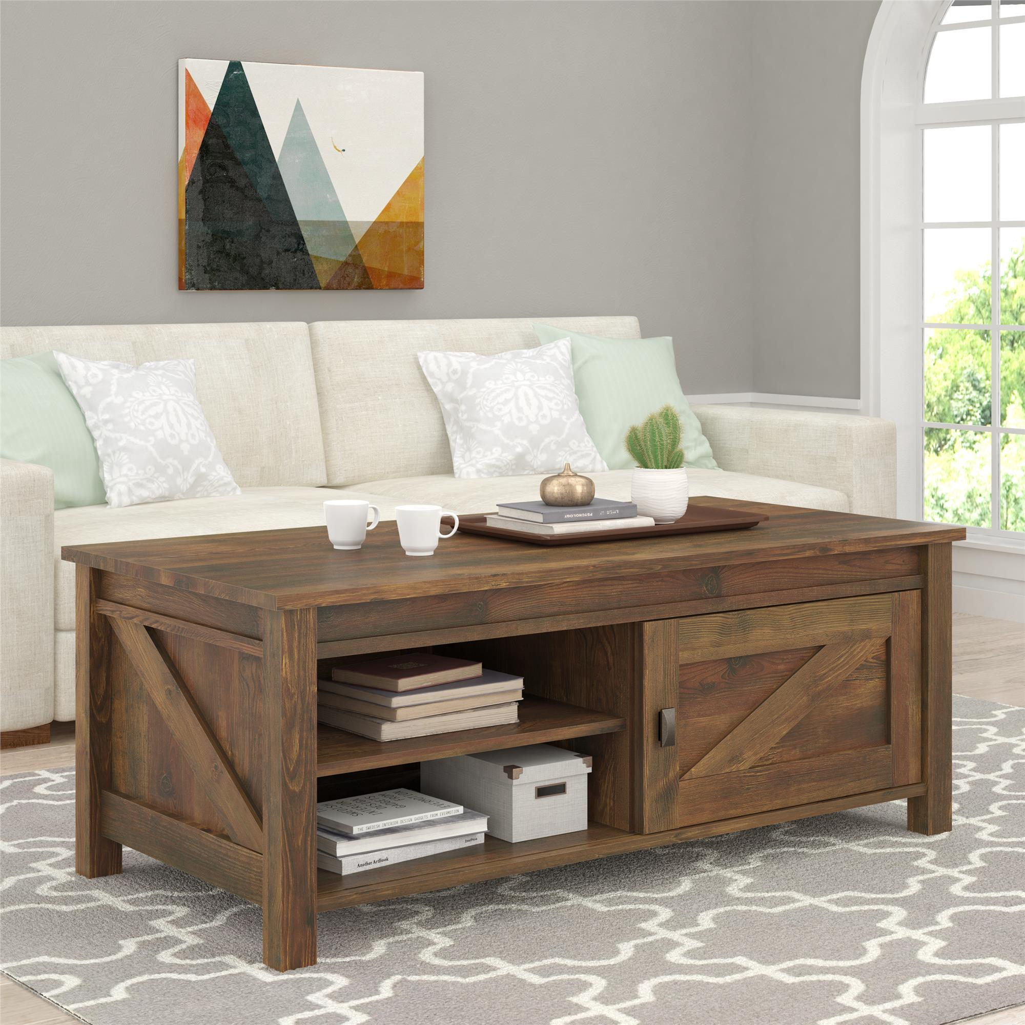 ameriwood furniture farmington coffee table rustic source accent with barn door pottery decor painted side tables living room white and black unusual bedside lamps ashley leather