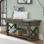ameriwood furniture wildwood wood veneer entryway bench rustic gray source better homes and gardens accent table end marble martin desk glass mirror dresser occasional tables 150x150