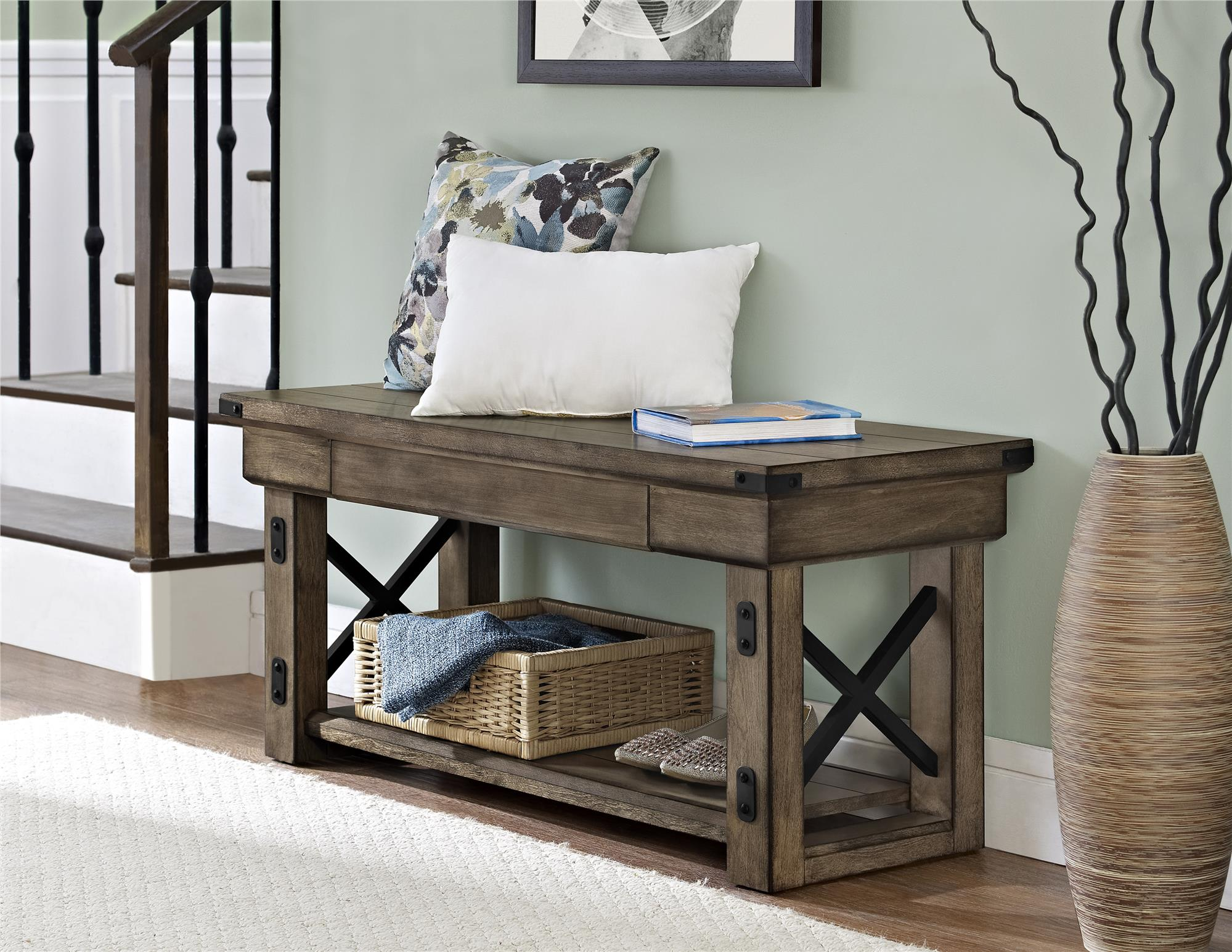 ameriwood furniture wildwood wood veneer entryway bench rustic gray source better homes and gardens accent table end marble martin desk glass mirror dresser occasional tables