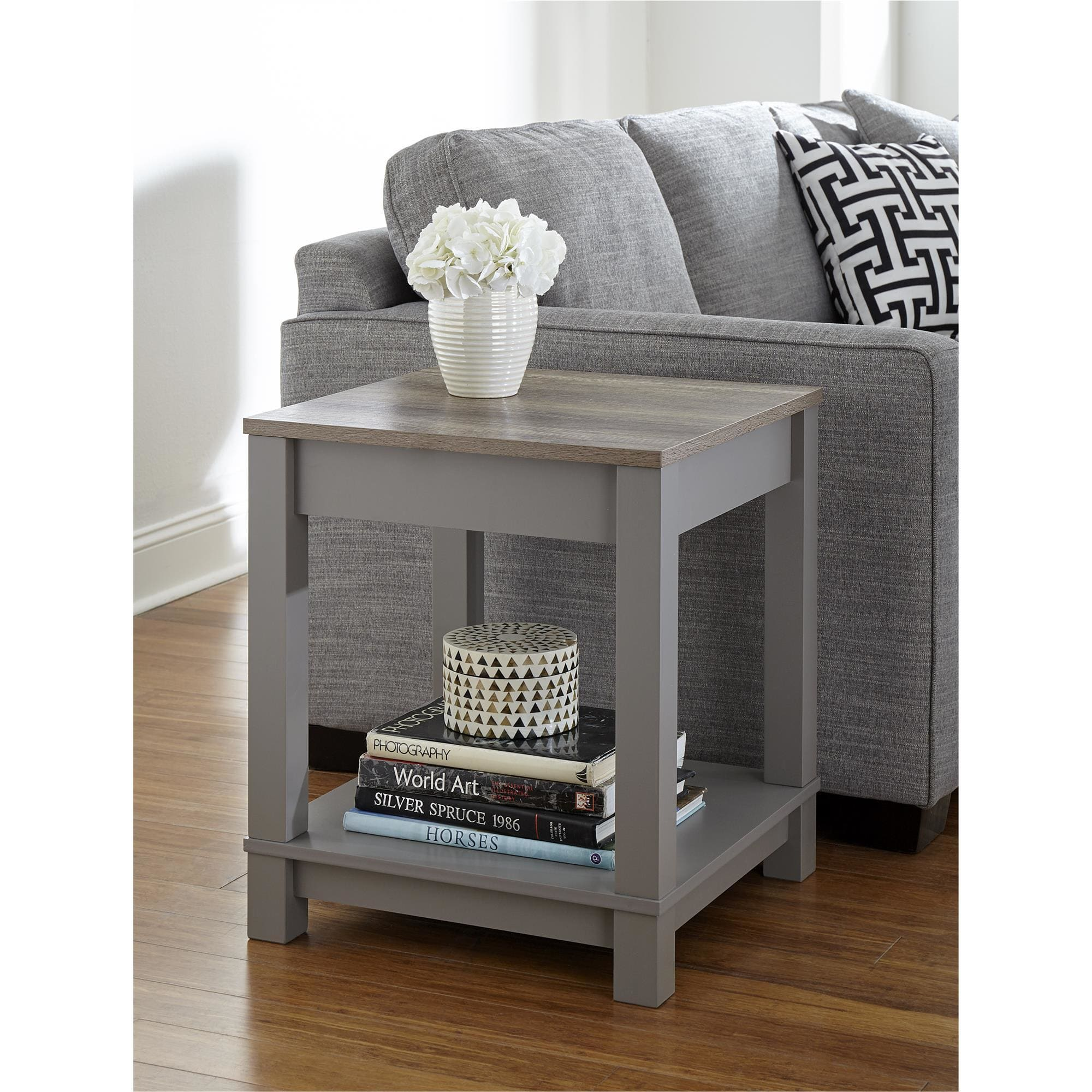 ameriwood home carver grey sonoma oak end table free storage accent black room essentials world market lamps high tiered metal pier one iron outside box furniture toronto cherry