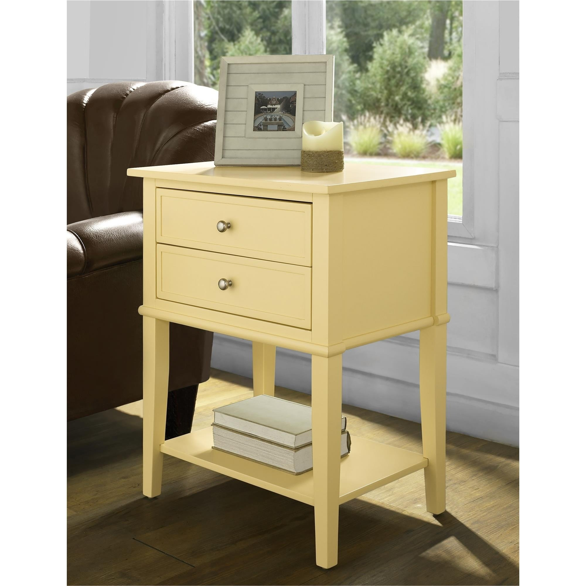 ameriwood home franklin yellow accent table with drawers free shipping today best dining room furniture armoire desk extendable marble hat stand solid wood end drawer inch round