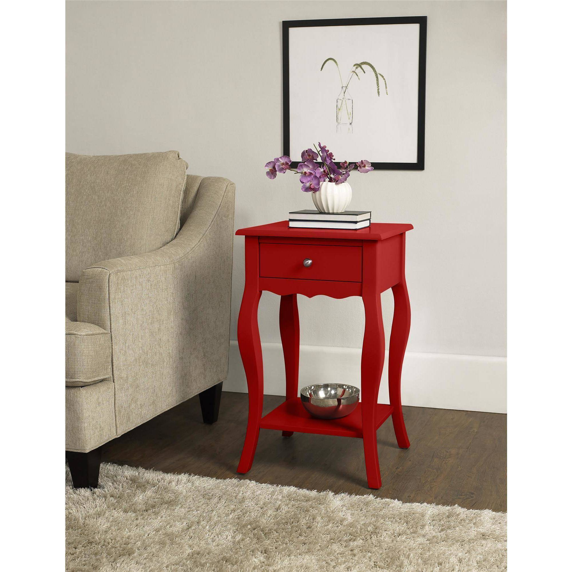 ameriwood home kennedy accent table red small next lamps nautical outdoor lighting sconces wood for furniture plexiglass cube ceramic lamp garden sets threshold windham buffet
