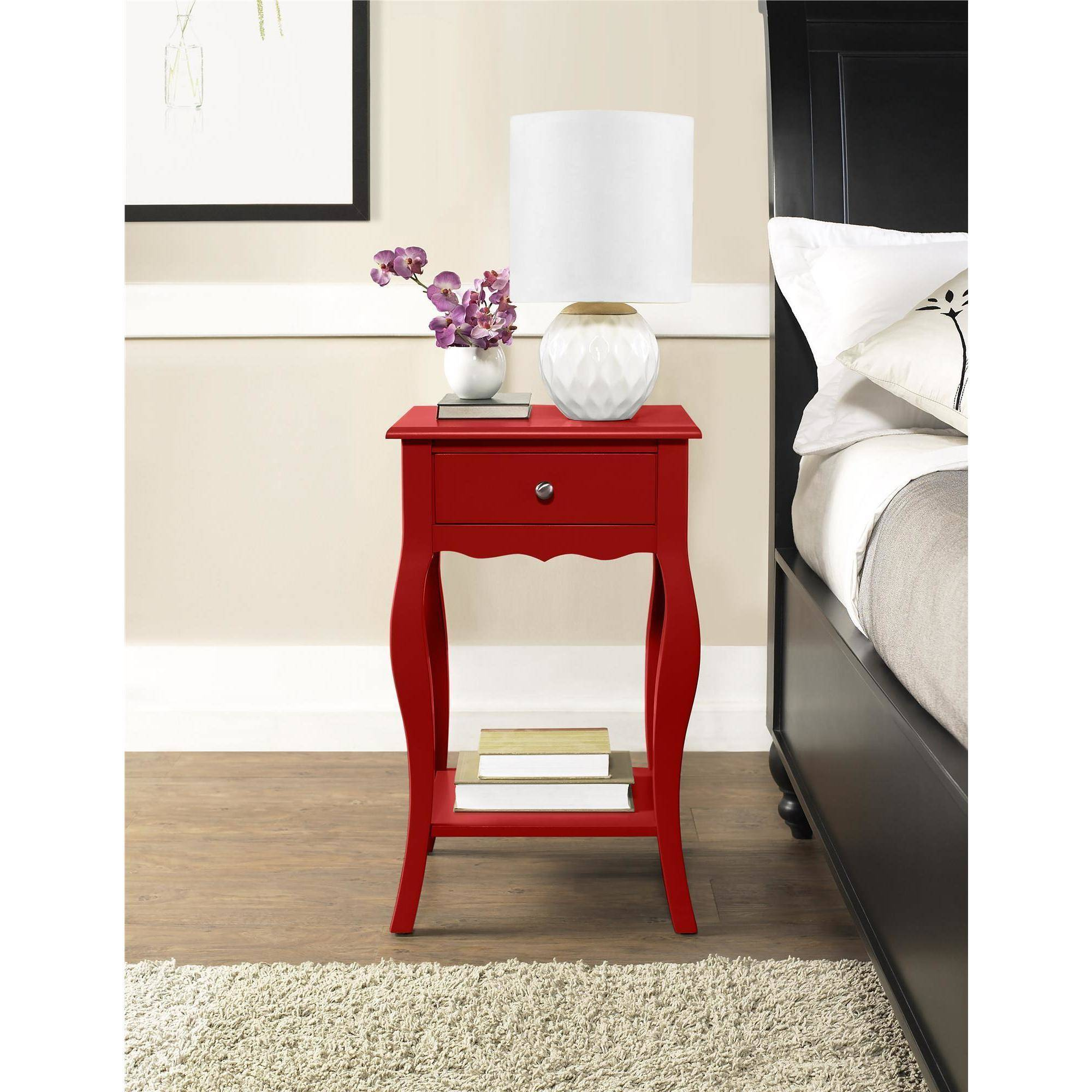 ameriwood home kennedy accent table red small rustic round side blue distressed drum set seat kidney shaped top hammered brass cloth placemats and napkins tall chest runner