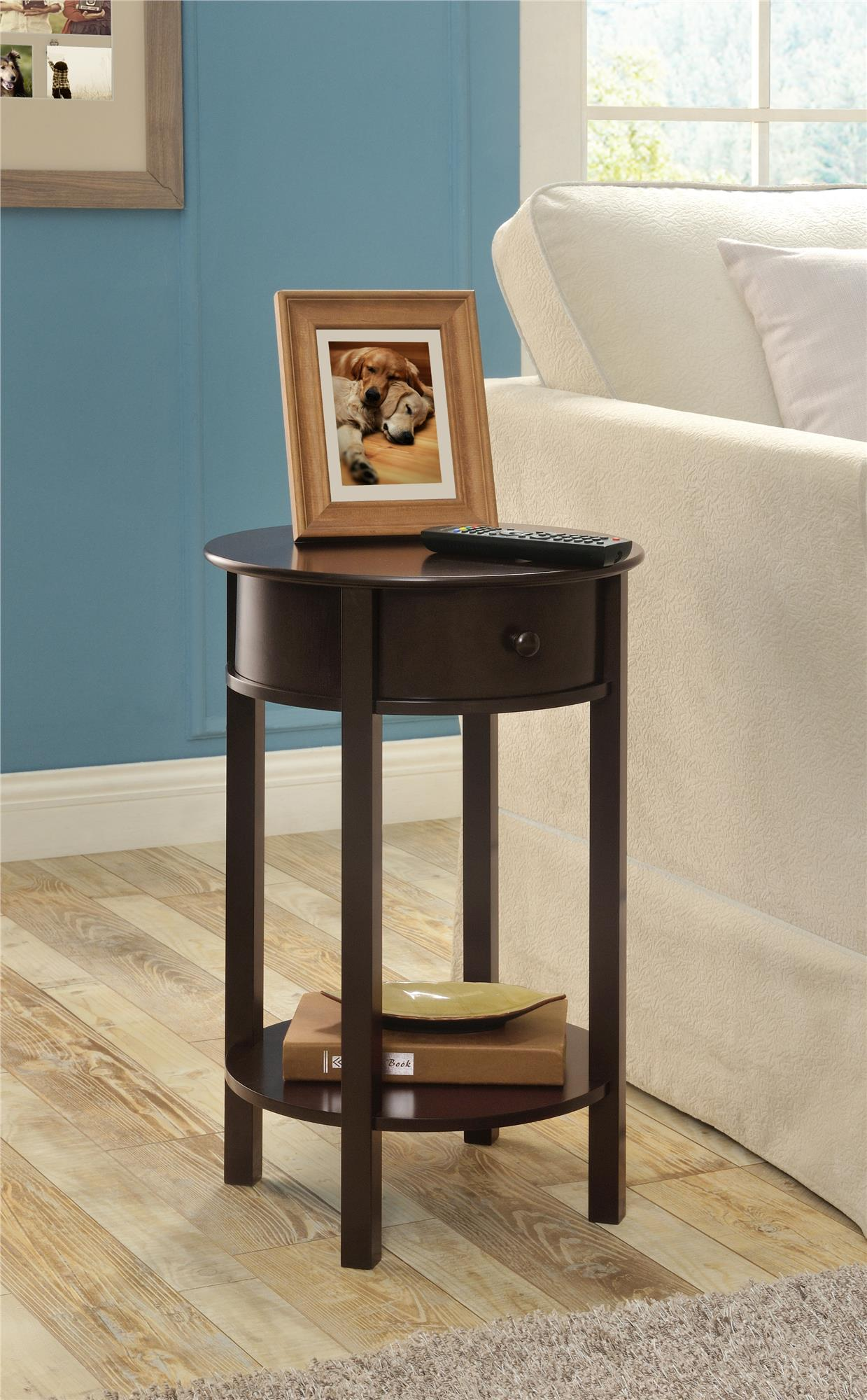 ameriwood home tipton round accent table espresso drawer beautiful lamps marble stone coffee narrow oak console shabby chic side black wicker drum rack and white pottery barn