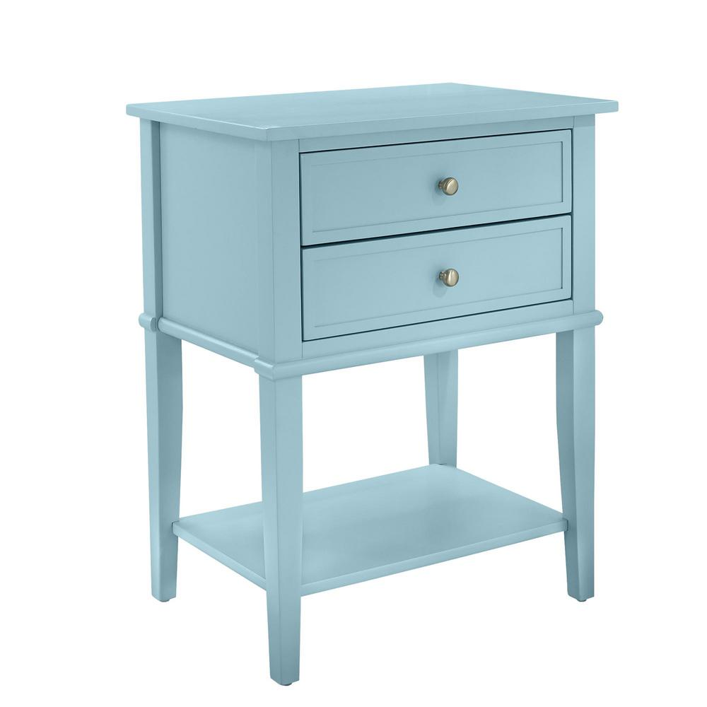 ameriwood queensbury blue accent table with drawers the finish end tables teal resin wicker furniture outdoor side cover drum throne parts bronze glass coffee round rattan small