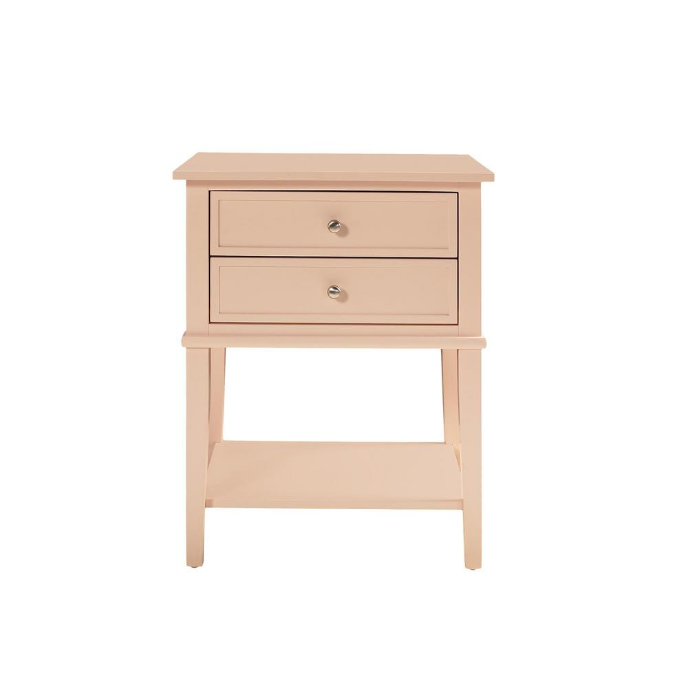 ameriwood queensbury pink accent table with drawers the end tables thai rain drum seat for drums kohls wall clocks ethan allen glass top coffee small half moon hall bedside