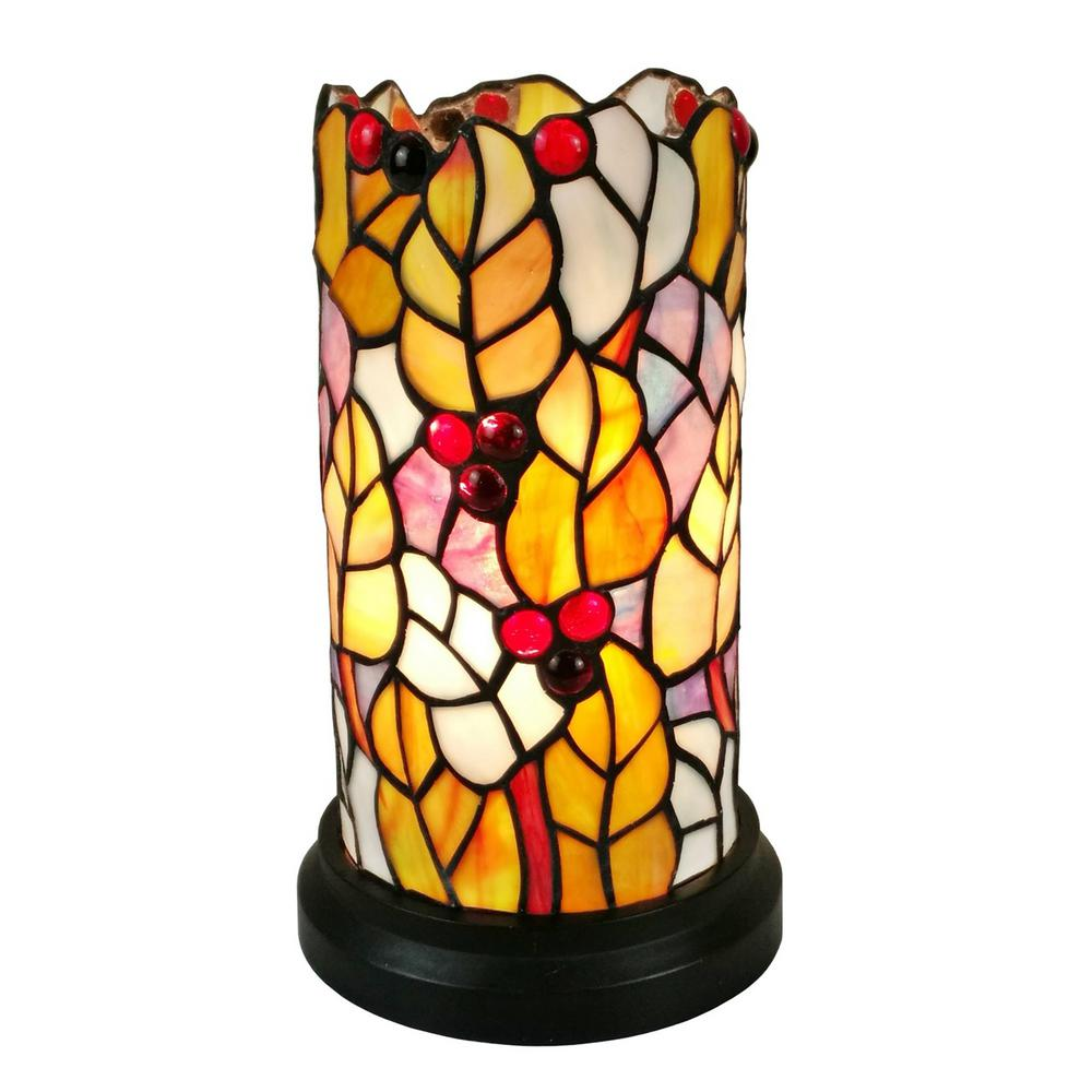 amora lighting tiffany style multicolored accent table lamp lamps stained glass shabby chic shelves tall side with drawers kidney bean coffee retro round tables for living room