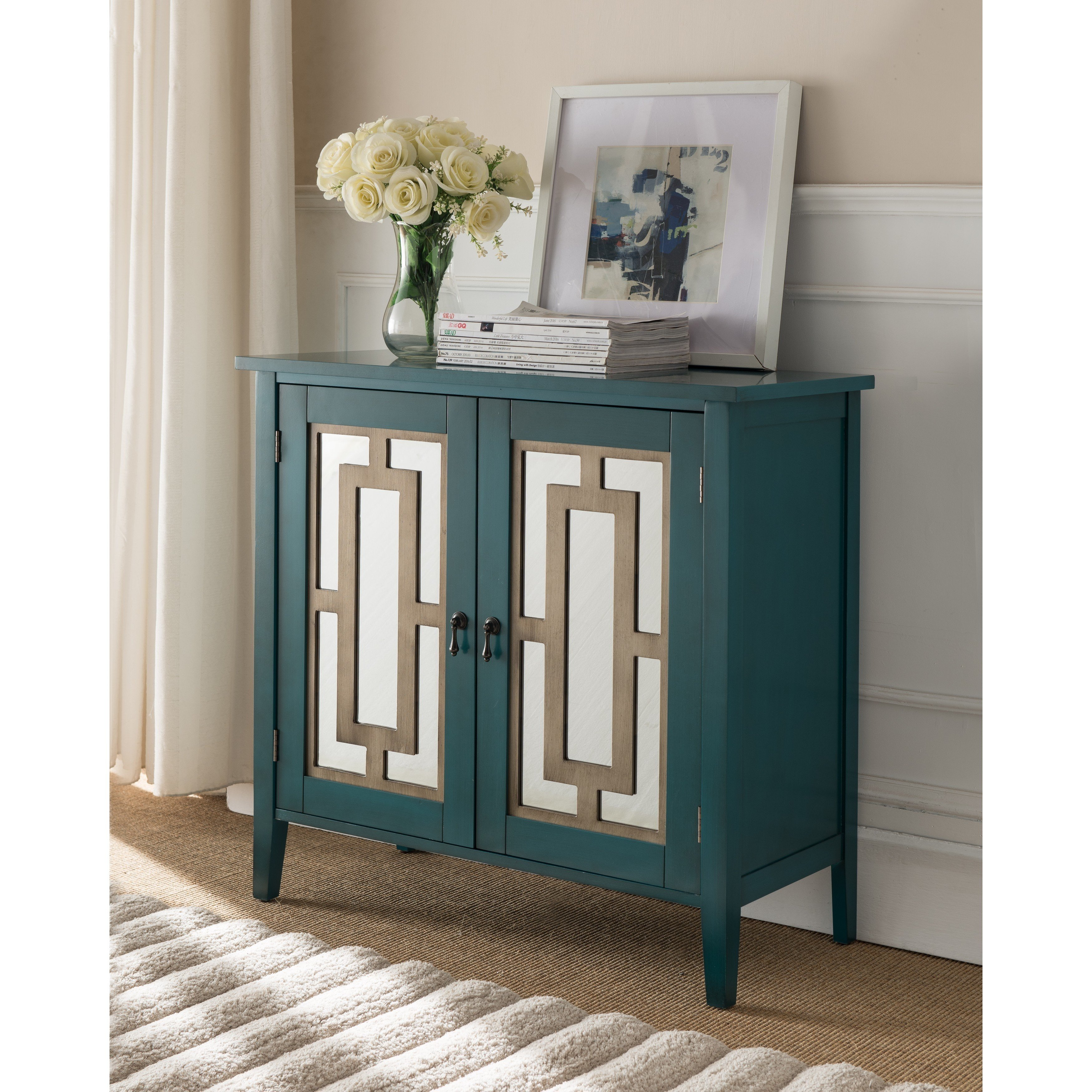 and furniture inc antique blue wood door console table fretwork accent free shipping today silver sofa west elm coupon code metal side square fall tablecloth small industrial end