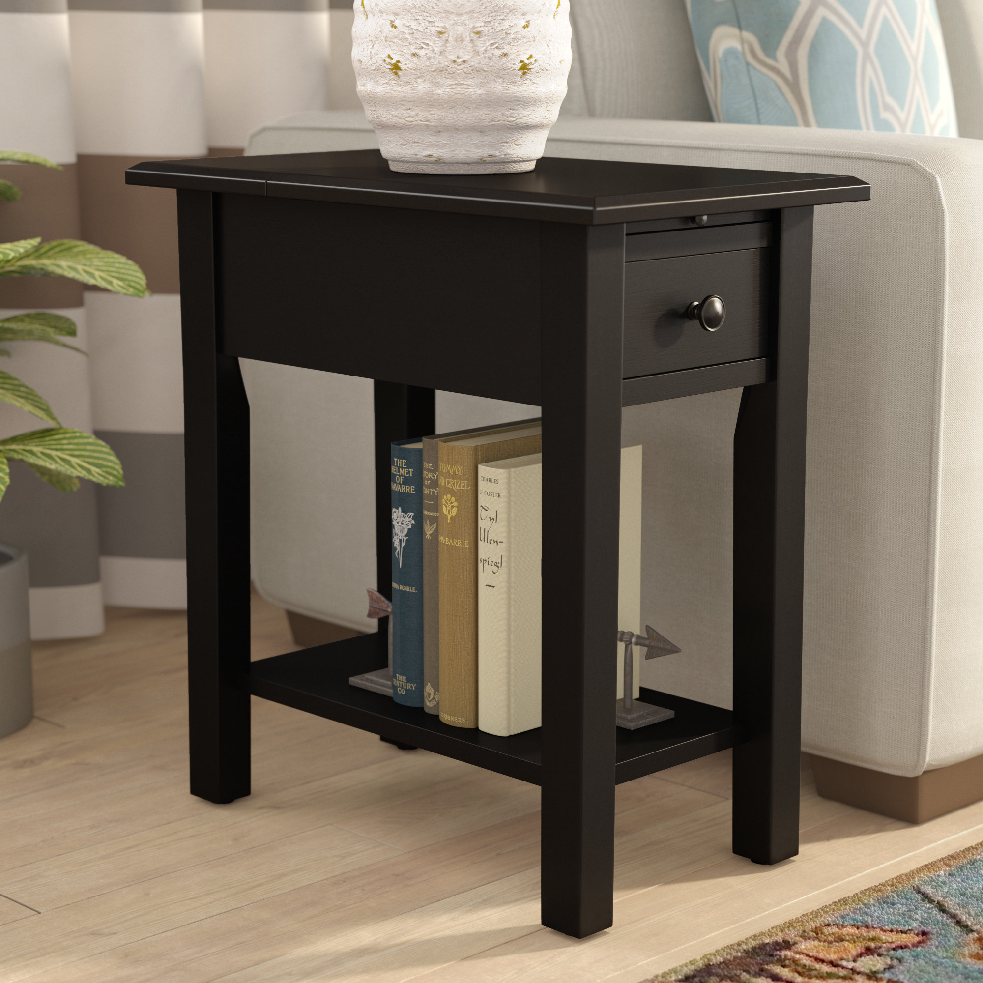 andover mills lundgren end table with storage reviews hadley accent drawer small round metal patio chrome glass tables outdoor side beverage cooler garden console cupboard drawers