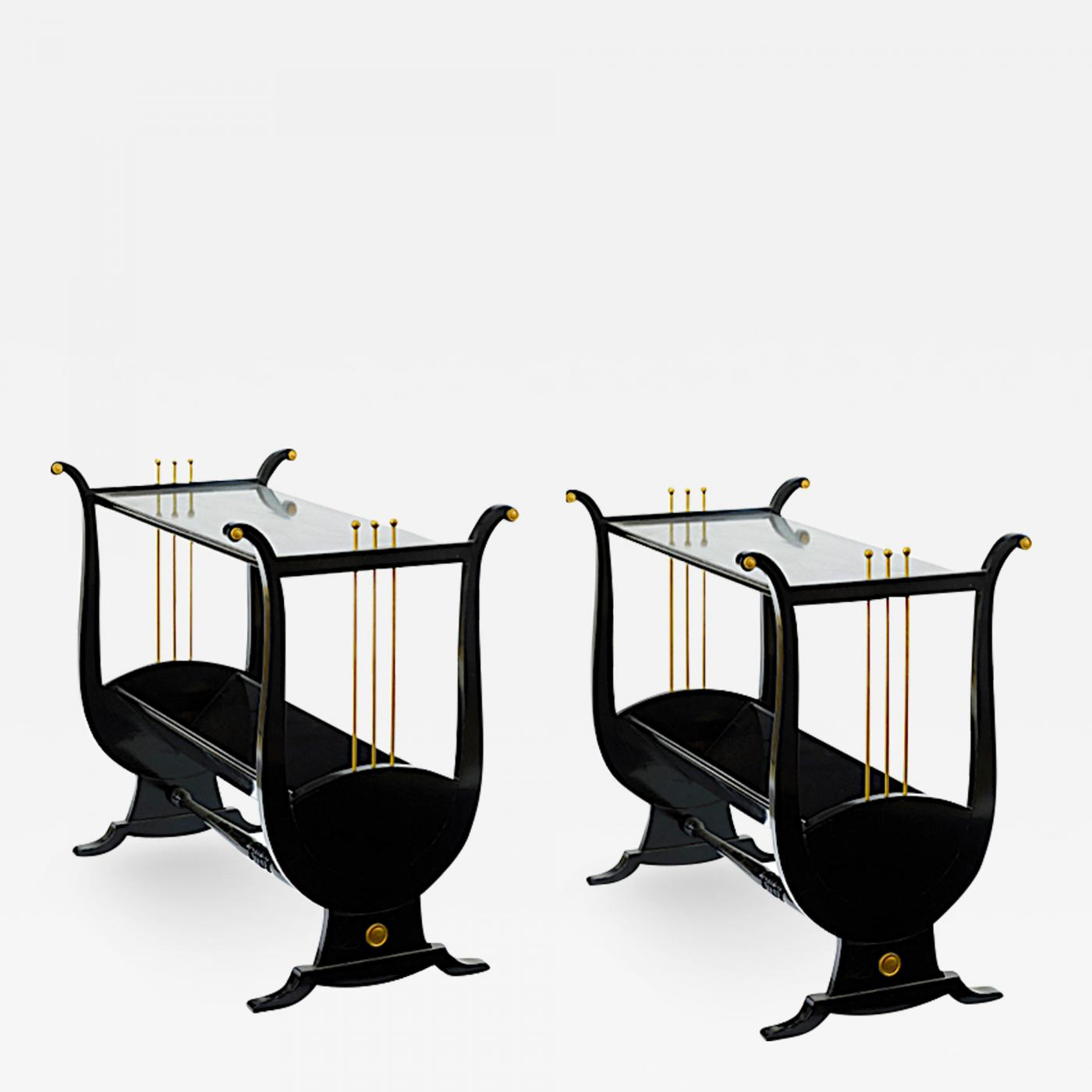 andre arbus pair harp shaped black lacquered and andr gold accent side table lacquer listings furniture tables coffee grohe rainshower walnut end cool ideas comfy chairs for