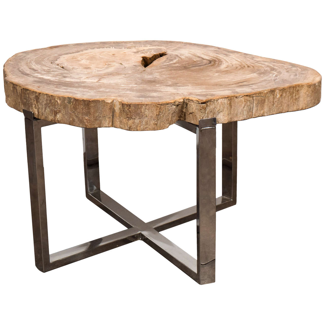 andrianna shamaris petrified wood slab with steel base for accent table quilted runners and placemats wrought iron legs trestle hampton bay furniture walnut bedside pub tops wine
