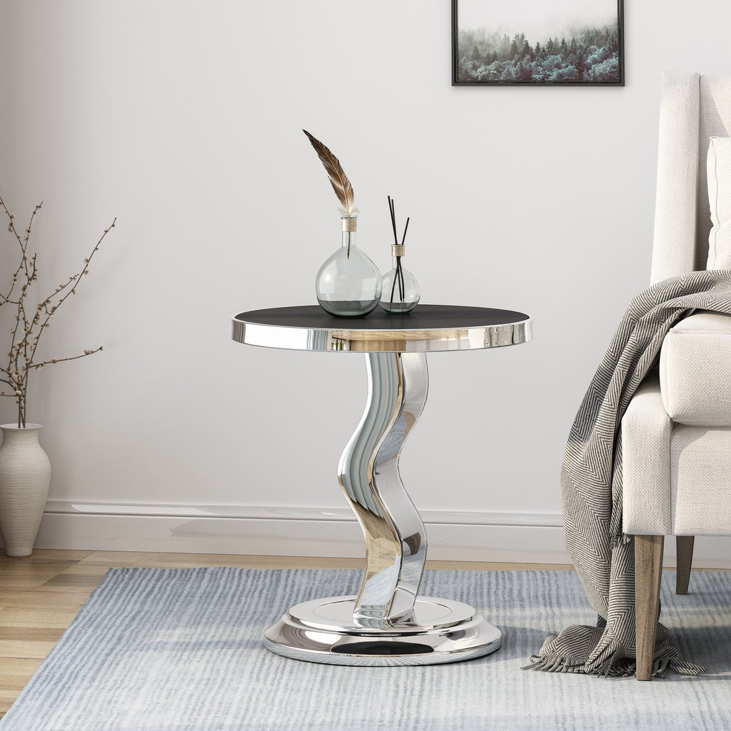 andy contemporary stainless steel accent table with tempered glass tables top gdf studio daniels furniture stands target dressing wicker rattan end small chairs arms and chair set