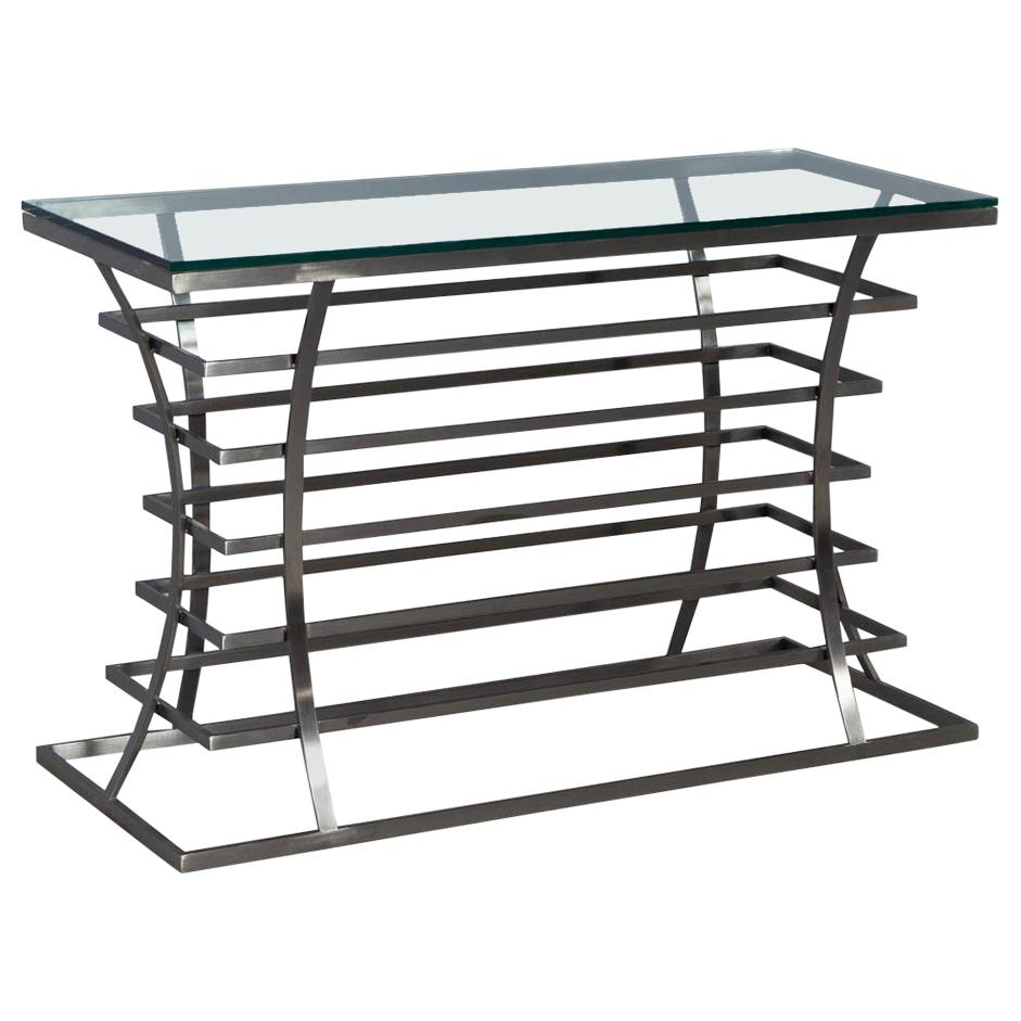 angular french lucite and glass console master chrome metal accent sofa table with shelf make your own barn door furniture fargo bar bunnings pottery corner desk diy coffee mini