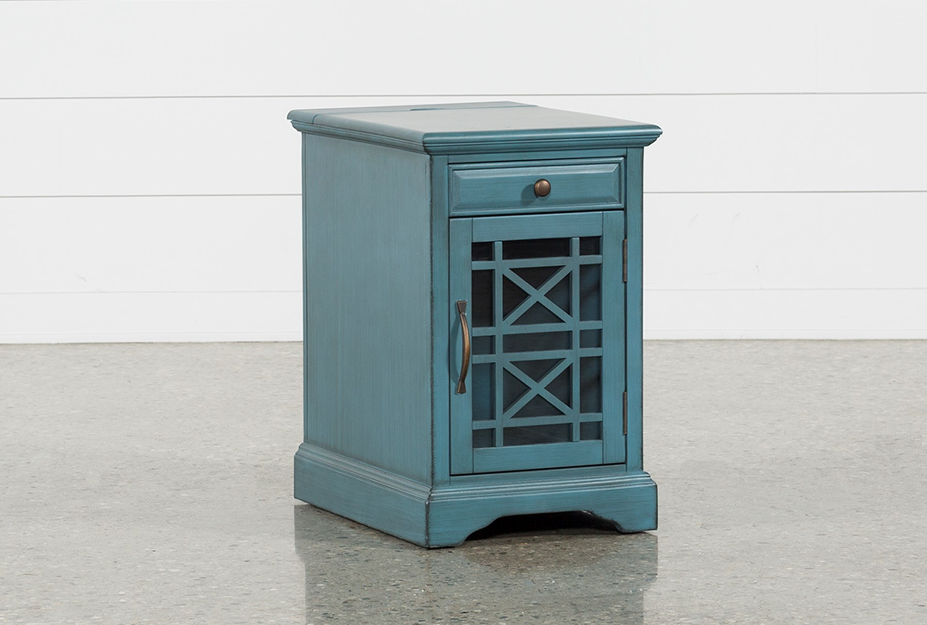 annabelle antique blue power chairside table living spaces accent with strip qty has been successfully your cart ikea outdoor flooring lighting lamps shell lamp small thin coffee
