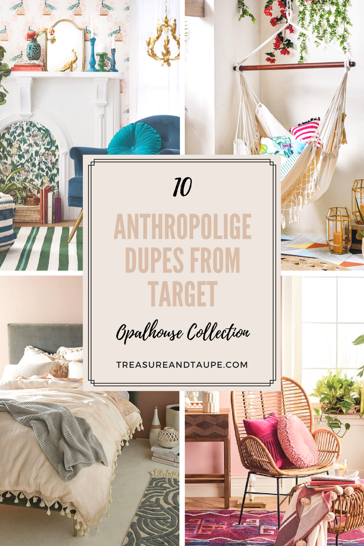 anthropologie dupes from target opalhouse collection treasure vintage collage appreciation graphic side table taupe blue furniture wooden bench seat bunnings contemporary hallway