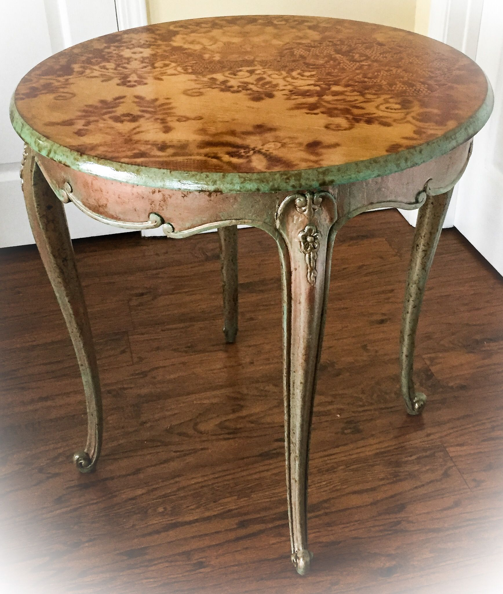 antique accent table copper patina stained wood end tall shabby chic wall ancient shabti for dining room sets rustic plans diy circular tablecloths linen making barn door metal