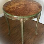 antique accent table copper patina stained wood end tall tables john boos butcher block live edge dining large square coffee gun storage furniture dark brown bedside craftmaster 150x150