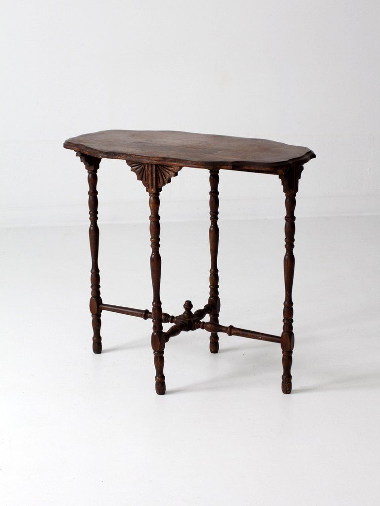 antique accent table the wood occasional features turned oak legs and decoratively carved apron small end decorative pedestal nightstand battery operated bedroom lights coffee