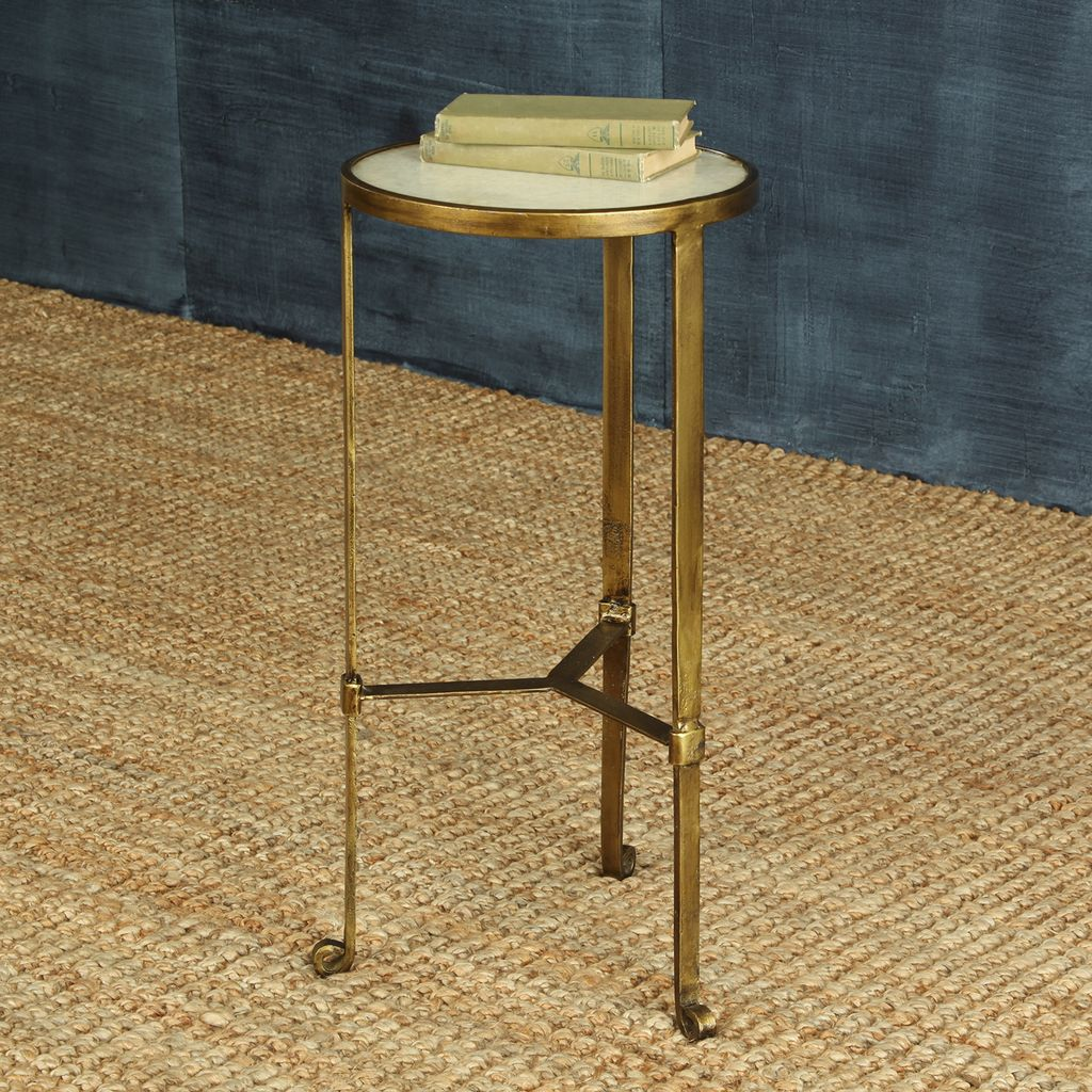 antique brass side table round homart savoy iron stone with drum accent modern tables torchiere floor lamp cool end ideas farmhouse coffee teal decor pier white wicker furniture