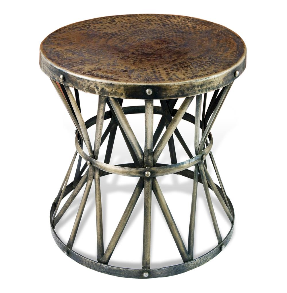 antique brass side table round zemico dark hammered rustic iron drum accent grey wash wood coffee pier white wicker furniture farmhouse dining set console winsome end outdoor one